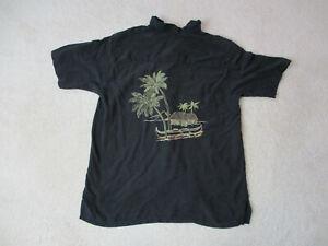 Tommy-Bahama-Hawaiian-Shirt-Adult-Small-Black-Brown-Embroidery-Silk-Camp-Mens