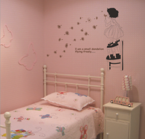 Girl Dandelion Vinyl Home Room Decor Wall Decal Sticker Bedroom Removable Mural