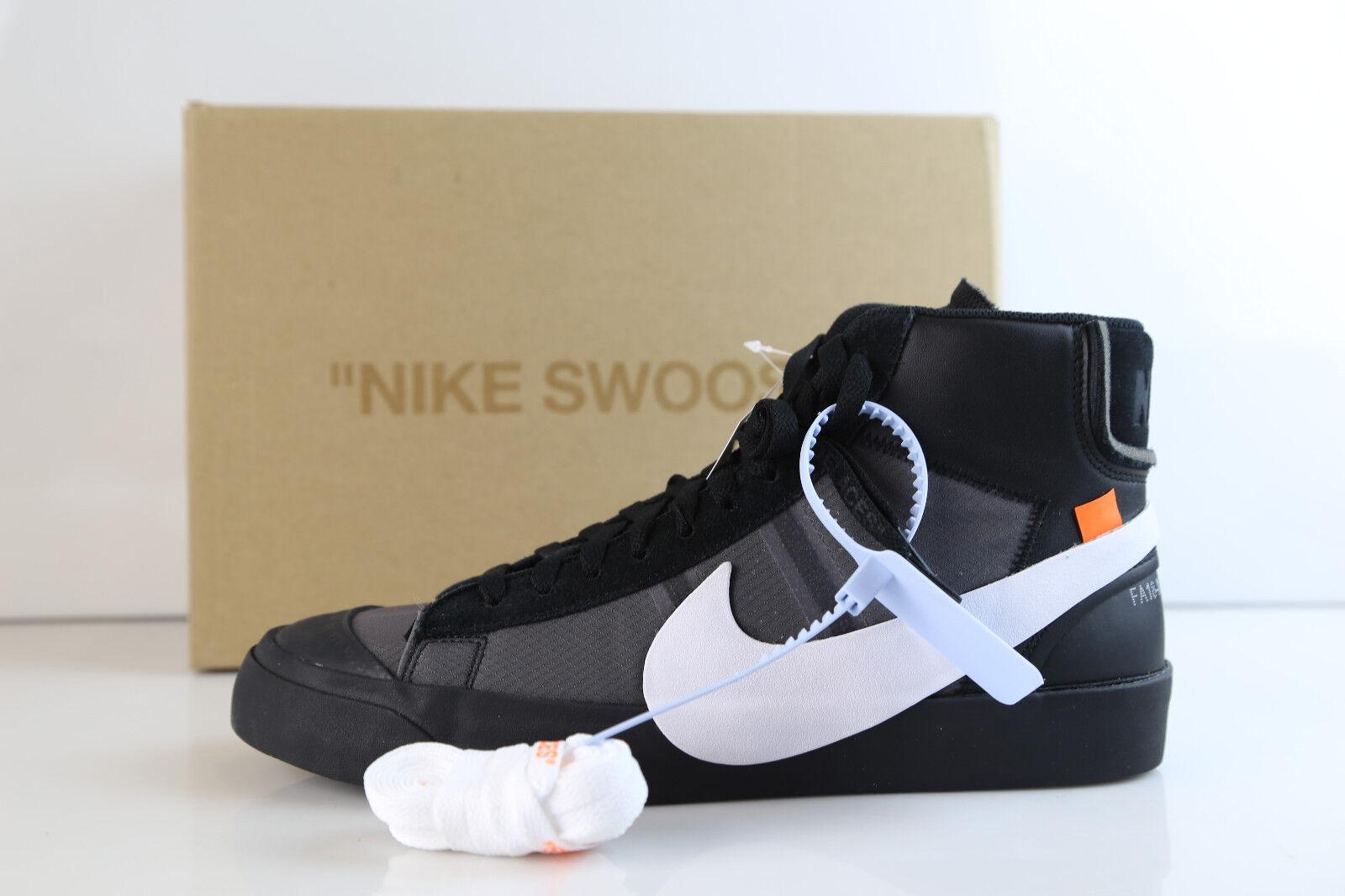Nike Blazer Mid Off-White Virgil Abloh Grim Reaper Black White AA3832-001 8-13