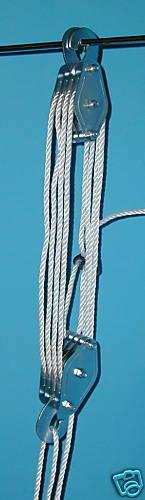 Flaschenzug Hebezug  Seilzug mit Umlenkrollen bis 400 kg 20 m Seil NEU !