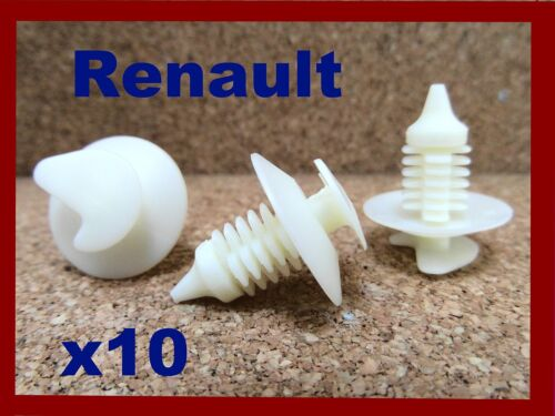 10 RENAULT door card panel fascia lining board cover plastic fastener clips