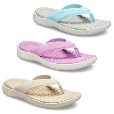 Crocs Reviva Flip Womens Lightweight Flat Summer Holiday Beach Sandals Uk4-8