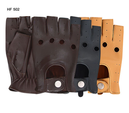 MENS HALF FINGER DRIVING GLOVES SOFT REAL LEATHER CHAUFFEUR MOTOR BIKE FASHION