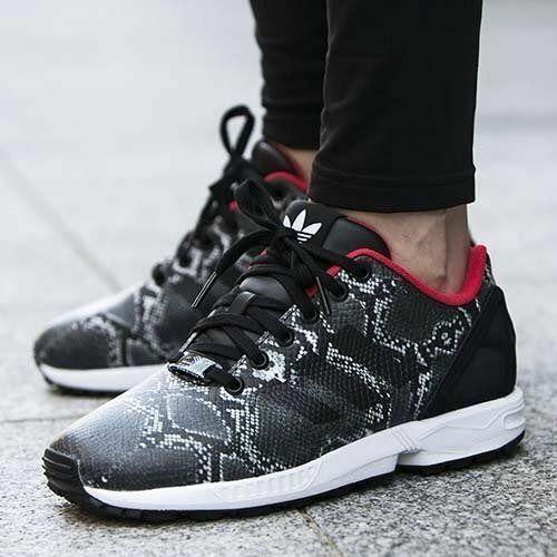 Adidas damen Girls ZX FLUX W Trainers schuhe Snake Print B35310 UK 3.5, 4.5