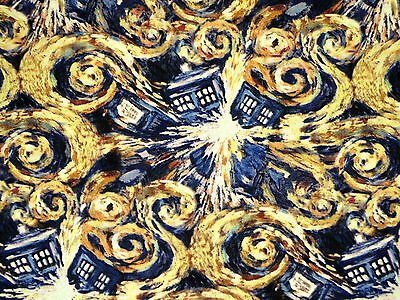 """23"""" REMNANT  DOCTOR WHO FABRIC  EXPLODING TARDIS  COTTON FABRIC SPRINGS CREATIVE"""