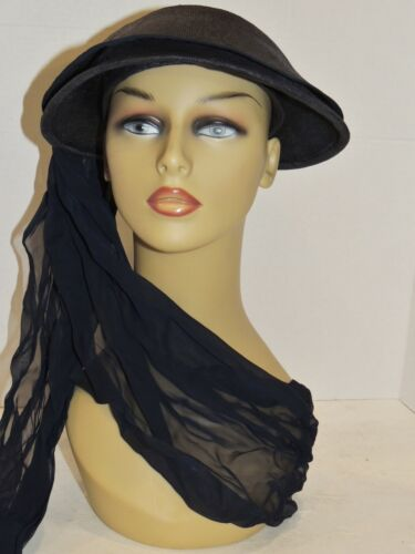 1940's WW2 Era Jay Thorpe Navy Straw Hat w Long At