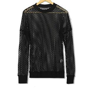Men-Fishnet-Mesh-Top-Shirt-T-shirt-Dance-Gothic-Punk-Long-Sleeve-Fashion-Black