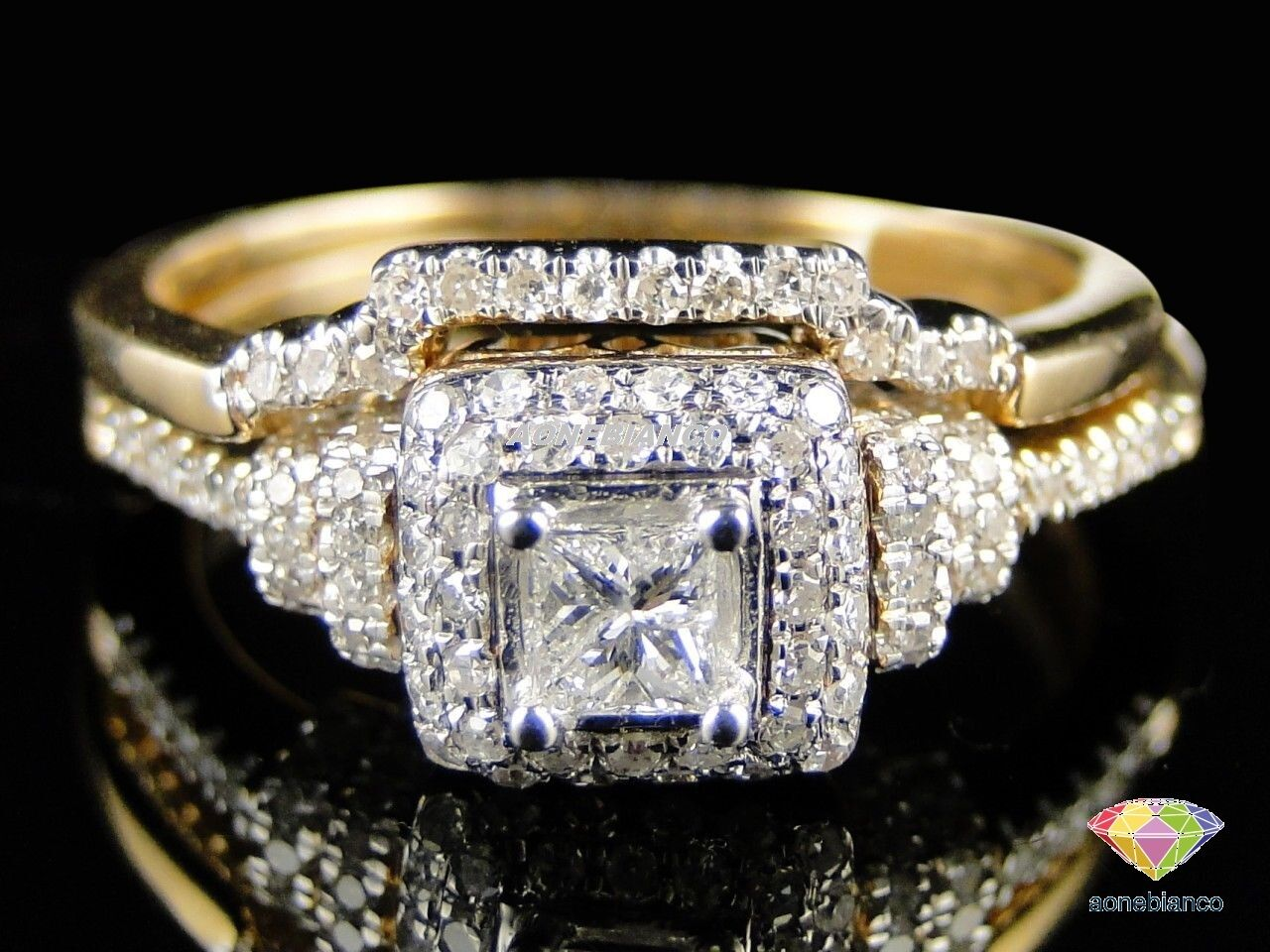 Princess Diamond Wedding Bridal Set 10K Yellow gold Over Engagement Ring 1.90 Ct