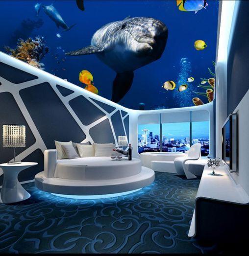 3D Deep Sea Fish Ceiling WallPaper Murals Wall Print Decal Deco AJ WALLPAPER GB
