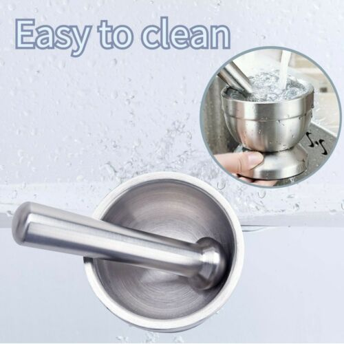 Stainless Steel Mortar and Pestle Spice Herb Grinder Pill Crusher Pedestal