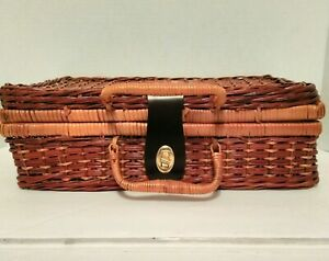 Vintage Woven Rattan Suitcase Storage Picnic Basket Handles