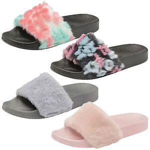 78ce57c52b67 Womens Slip On Faux Fur Pool Sliders Ladies Flat Slipper Mule ...