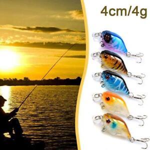 5Pcs Fishing Lures Minnow Fish Bass Crankbait Hooks Tackle Crank Baits FAST SHI[