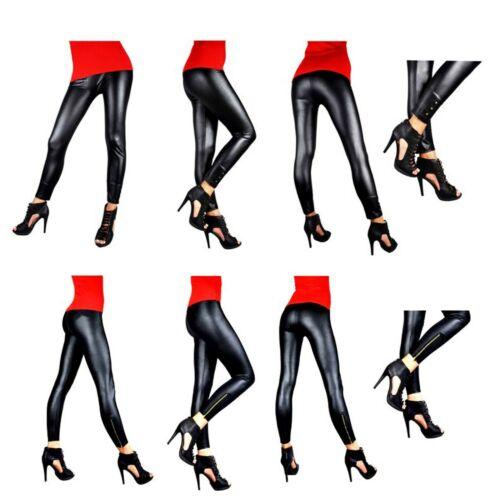 Leggins LACK Look Leggings  S XL Schwarz Damen Hose Leder-Look Wet-Look