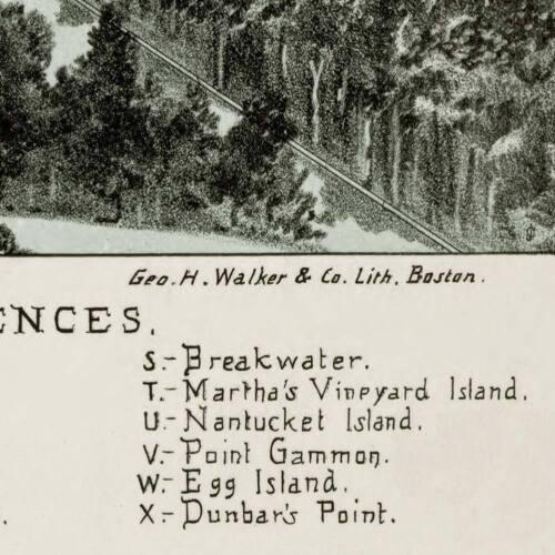 Village of Hyannis Massachusetts MAP Birds Eye View circa 1884 24x36 Cape Cod