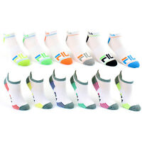 6 Pairs: Fila Shock Dry No-Show Athletic Socks