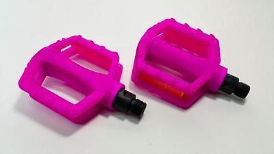 """Qty 10 PINK 9//16/"""" Nylon Plastic Pedals 3/""""x3/"""" Kids Bmx Pedal 3  piece cranksets"""
