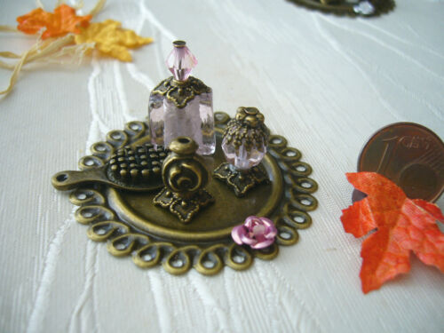 =BEAUTY-SET goldbronze-rosé Flakons Bürste= Parfümerie Miniatur 1:10 / 1:12 byHW