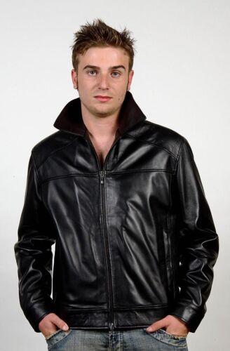 Sz Fitted S Handmade Leather Italian Men Jacket Fit Lambskin Black Slim azxgxpZq
