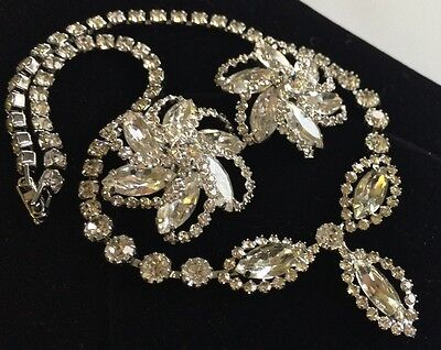 Glittering Vintage Weiss Necklace & Earring Set~Ice/Crystal Rhinestones~Signed