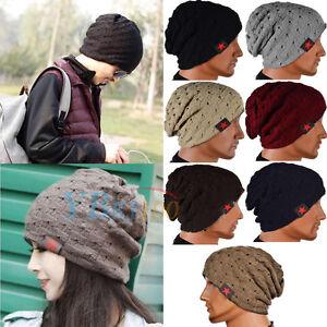 Fashion Women Men Knit Baggy Warm Ski Crochet Slouch Hat Cap Beanie Oversize