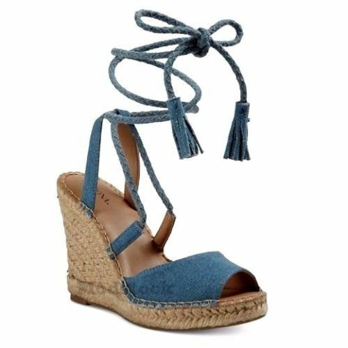 Merona Maren Blue Light Denim Lace Up Espadrille Wedge Sandals BlueSize 5.5