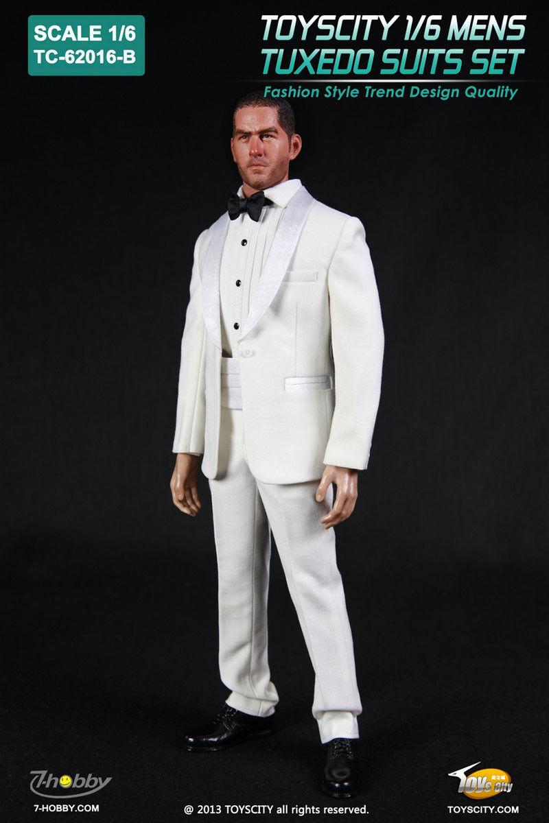TOYS CITY Mens Tuxedo Suits Set White color 1 6 Fit for 12  action figure