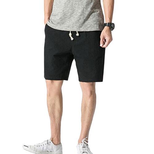 Mens Athletic Shorts Simple Linen Basic Light Comfy Elastic Drawstring 3 Pockets