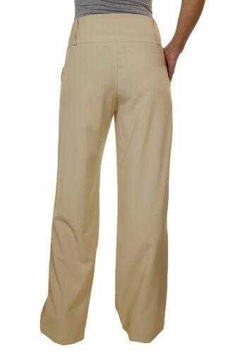 Business Wide Leg Smart Soft City Trousers Beige NEW 10-22