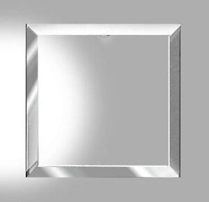 2 huge 6 x 6 inch square clear beveled glass flat on back bevel