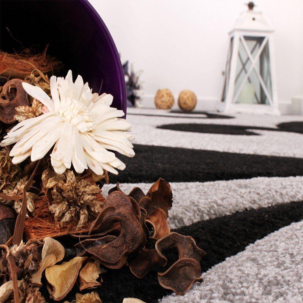 Moderne Gris Tapis Noir Motif Floral Designer Chambre Tapis Hall Hall Hall Runner | Facile à Nettoyer Surface  357622