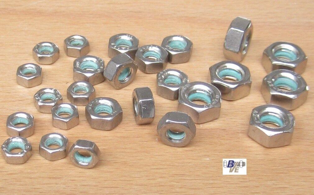 Sechskantmuttern DIN 934 V2A A2-70 Edelstahl mit Precote-Sicherung 85 M5/M6/M8