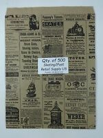 500 Qty. 8.5 X 11 Newsprint Design Paper Merchandise Bag Retail Shopping Bags