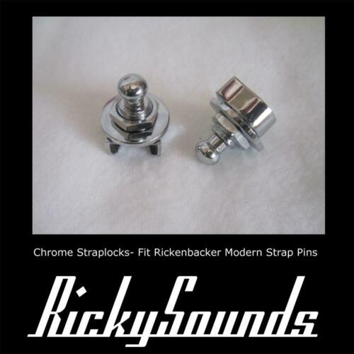 CHROME STRAPLOCKS FOR RICKENBACKER BASS OR GUITAR