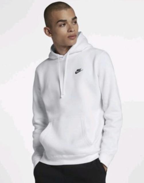 09380c280d03d Nike MENS Sportswear Club Fleece Pullover WHITE BLACK HOODIE SZ 2XL 804346  100