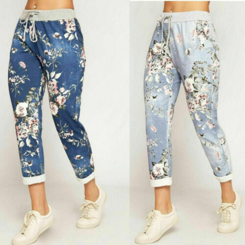 NEW Ladies Womens Floral Rose Printed Turn Up Trousers Summer Beach Trouser Pant