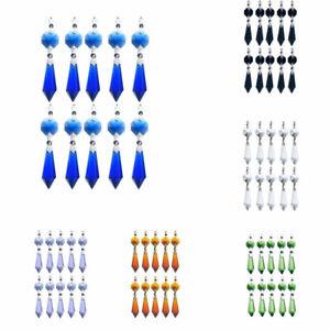 10pcs-Puro-Colore-Lampadario-Vetro-Cristallo-Prismi-da-Parete-Gocce
