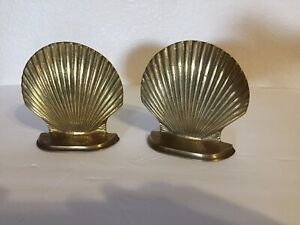 Vtg-Solid-Brass-Book-Ends-Clam-Scallop-Shell-5-034-tall-x-4-75-034-FREE-SHIP