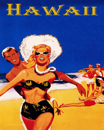 POSTER HAWAII YOUTH BEACH FUN SUN VACATION SUMMER TRAVEL VINTAGE REPRO FREE S//H
