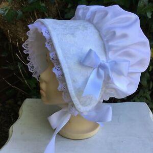 Victorian ladies bonnet costume fancy dress pale blue taffeta