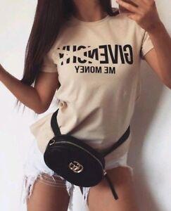 LA-Damen-T-Shirt-Kurzarm-Oberteil-Statement-Damentop-Bluse-Beige-MONEY-S-M