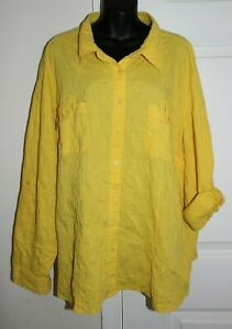 e805cc776e5f97 Liz & Me Textured Yellow 4x Button Front Blouse 30/32W Roll Tab 3/4 ...