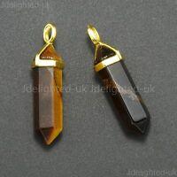 Natural Gemstones Hexagonal Point Reiki Chakra Healing Pendant 18K Gold Necklace