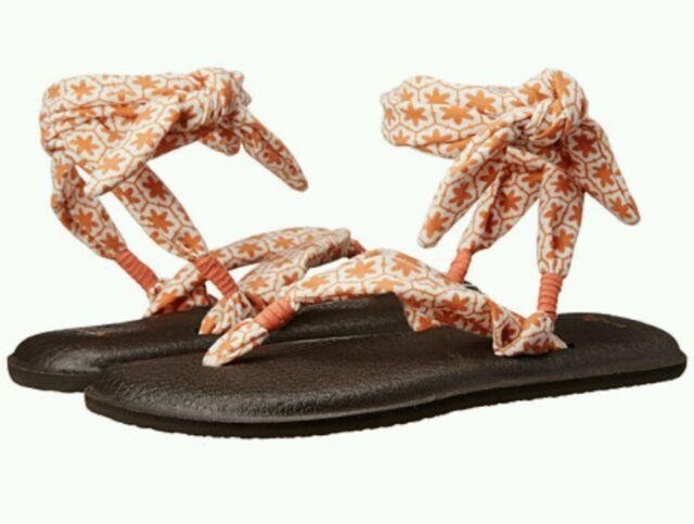 703fe8daa4f8 Sanuk Yoga Slinged up Prints Sandals Flip Flops Shoes Melon Tile Sz ...