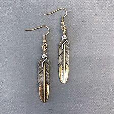 Unique Bohemian Antique Gold Silver Wired Leaf Design Drop Dangle Earrings