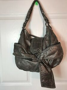 Marc-Ecko-Silver-Faux-Reptile-Leather-Light-Big-Bow-Soft-Hobo-Shoulder-Bag-Purse