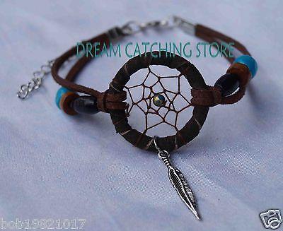 2014 new arrival dream catcher bracelet with alloy feather pendant