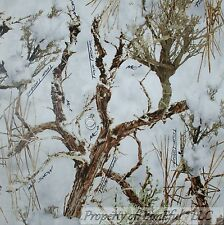 BonEful Fabric FQ Cotton Quilt White Brown Wood Camo Winter Snow Real Tree Cabin