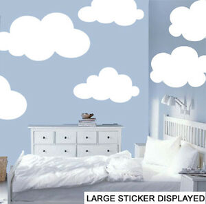 Giant Clouds - Pack of 6 - Wall Art Stickers Murals Bedroom Nursery ...