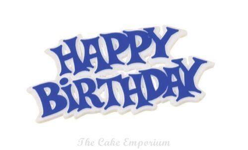 Joyeux anniversaire devise rose /& blanc ou blue /& white 76mm.